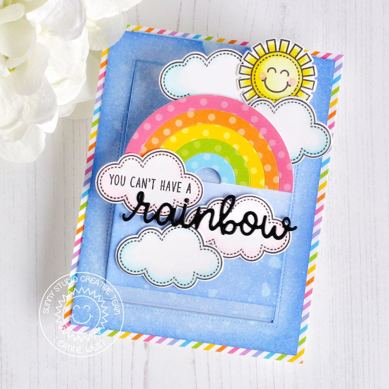 Sunny Studio Stamps Polka-dot Rainbow Pop-up Slider Card (using Dots & Stripes Pastels 6x6 Paper Pad)