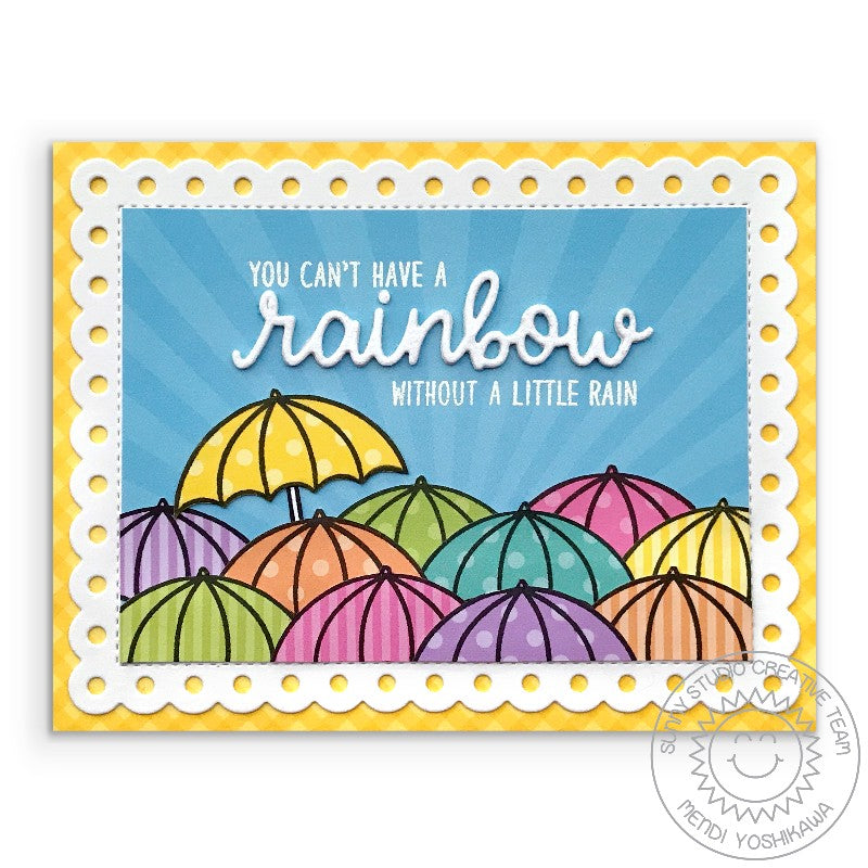 Sunny Studio Stamps Rainbow Umbrella Card (using Dots & Stripes Pastels 6x6 Paper Pack)