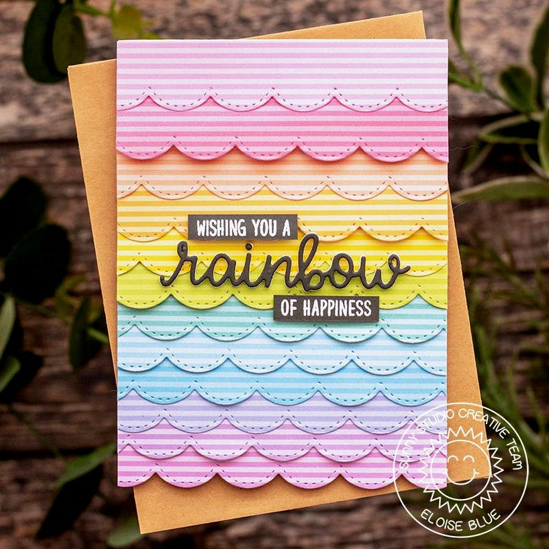 Sunny Studio Stamps Striped Rainbow Scalloped Card (using Dots & Stripes Pastels 6x6 Paper Pad)