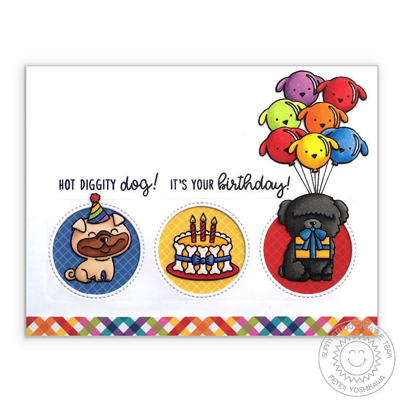 Sunny Studio Dog Balloon Birthday Card (using Classic Gingham 6x6 Paper Pack)