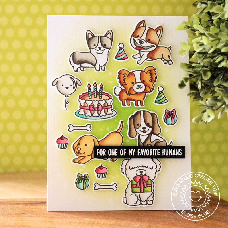 Sunny Studio Stamps Party Pups Dog Birthday Card with Tetris Style background