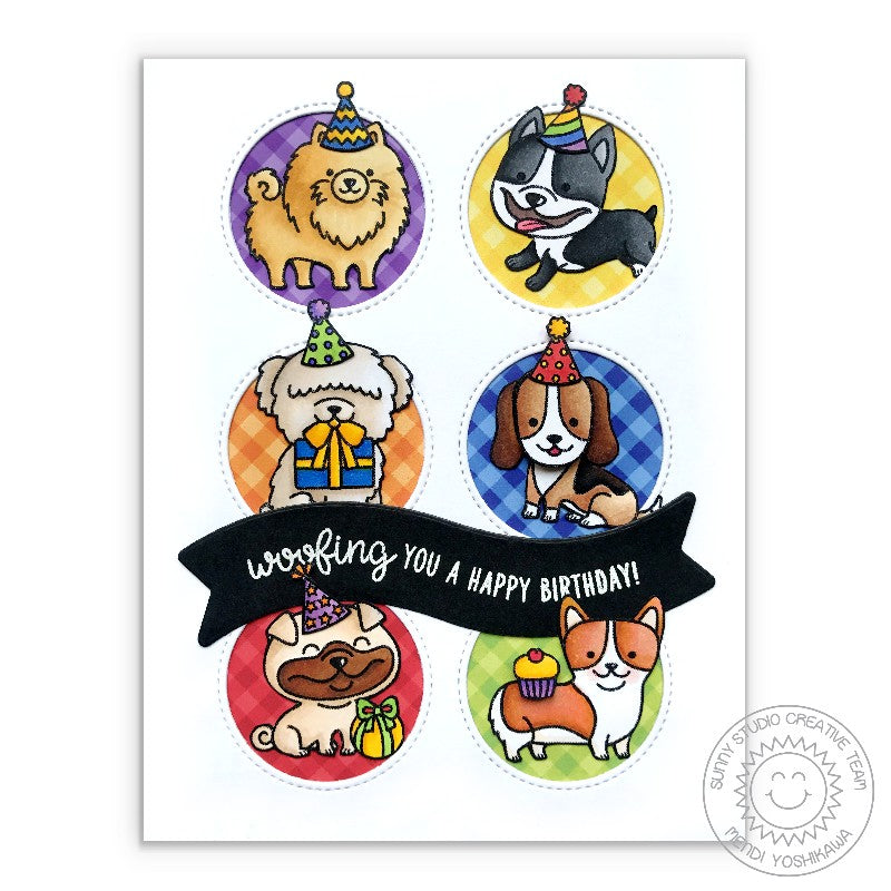 Sunny Studio Stamps: Party Pups Dog Grid Style Birthday Card by Mendi Yoshikawa