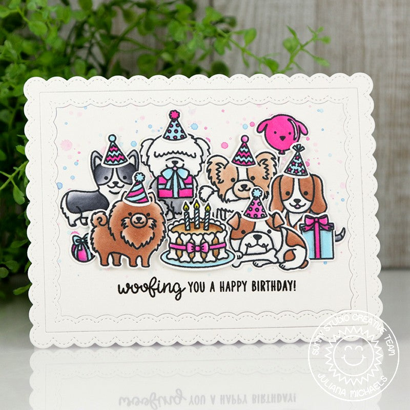 Sunny Studio Party Pups Stamps Dog Celebration Birthday Card by Juliana Michaels