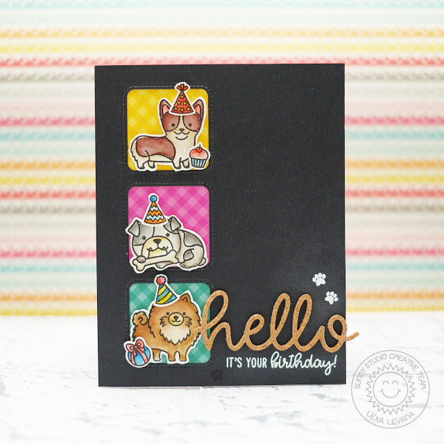 Sunny Studio Stamps Party Pups Dog Birthday Card by Lexa Levana