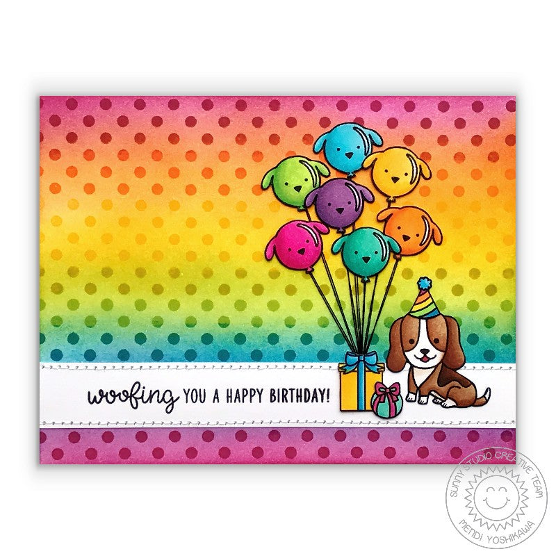 Sunny Studio Stamps Party Pups Polka-dot Rainbow Birthday Card by Mendi Yoshikawa