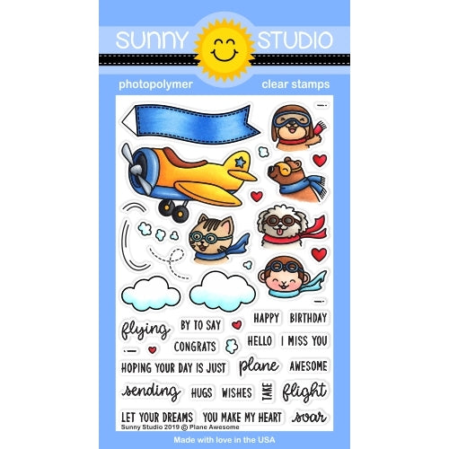 Sunny Studio Stamps Plane Awesome Critters In Airplane Flying 4x6 Clear Photopolymer Stamp Set