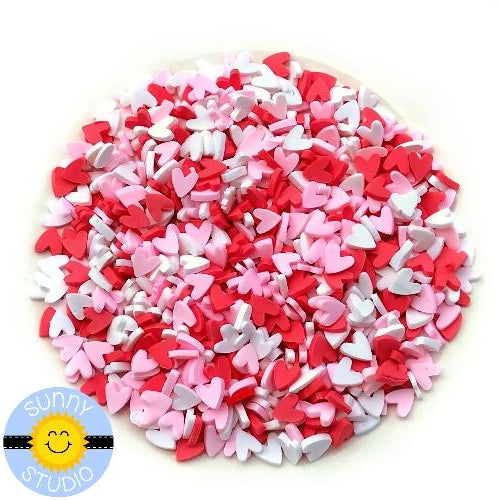 Sunny Studio Stamps 5mm Red, Pink & White Clay Heart Confetti Embellishments for Shaker Cards
