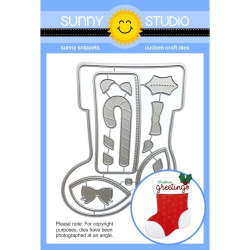 Sunny Studio Stamps Santa's Stocking A2 Low Profile Metal Cutting Die Set