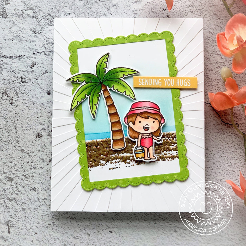 Sunny Studio Stamps Beach Themed Girl with Sand Bucket Card featuring realistic sand texture