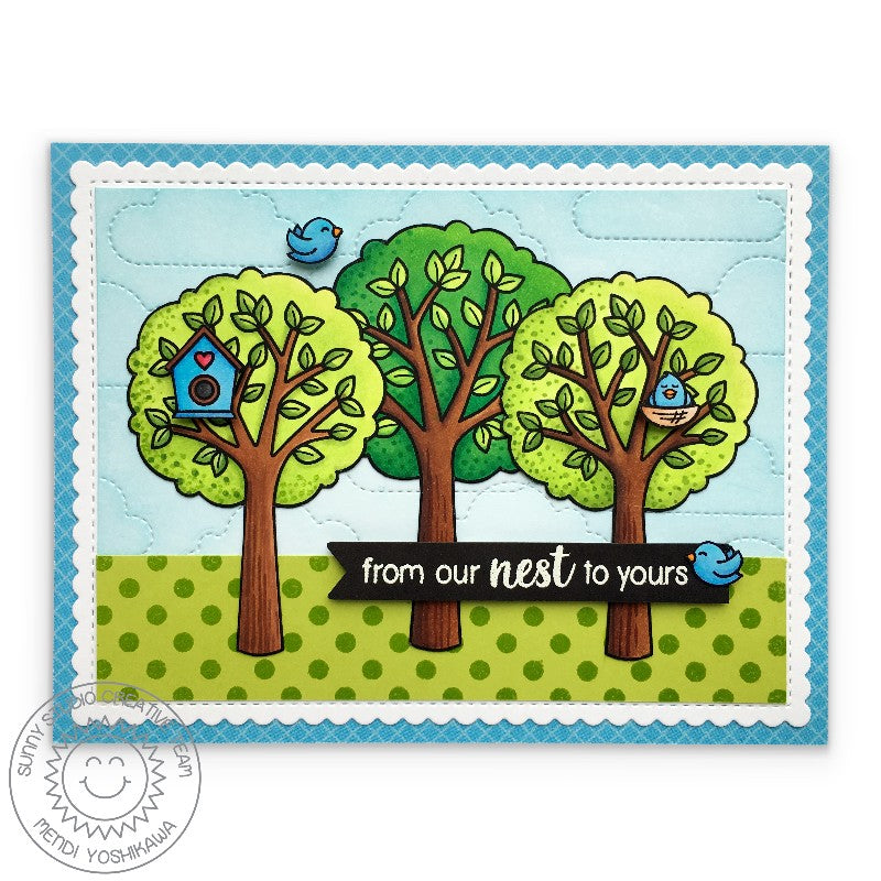 Sunny Studio Stamps From Our Nest To Yours Birds & Trees in Park Card with stitched scalloped edge (using Frilly Frames Stripes Die)