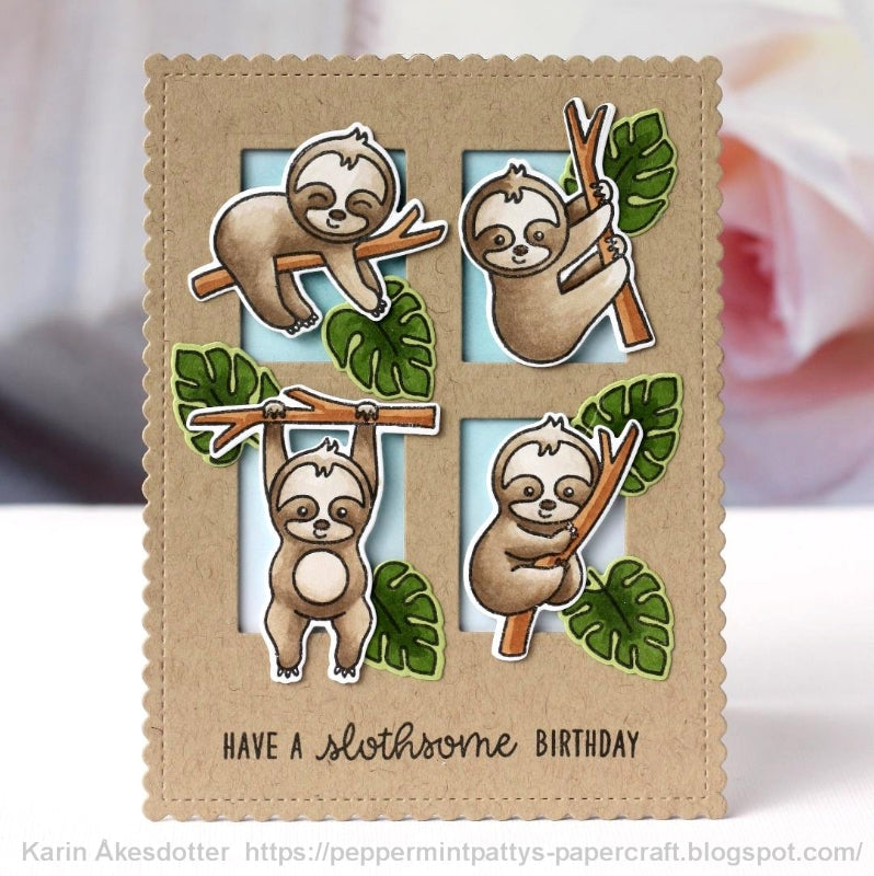 Sunny Studio Slothsome Birthday Sloth Card (featuring stitched scalloped rectangle from Frilly Frames Striped Die)