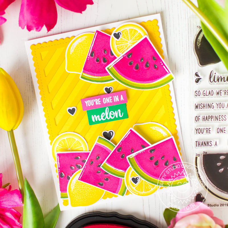 Sunny Studio Stamps Slice of Summer Watermelon & Lemons Card (using Frilly Frames Stripes Die)