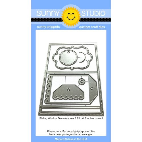 Sunny Studio Stamps Sliding Window Pop-up Steel Rule Die Set with gift tag & label dies