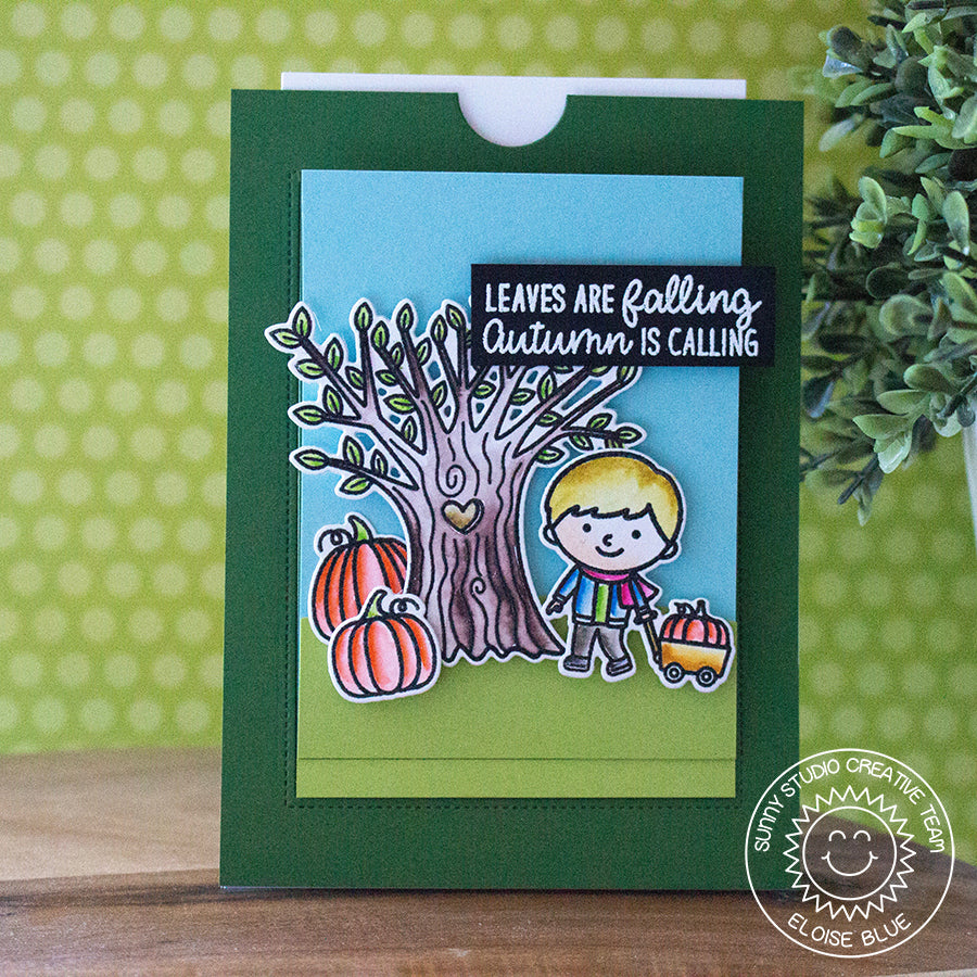 Sunny Studio Stamps Happy Harvest Fall Tree with Pumpkins Card by Eloise