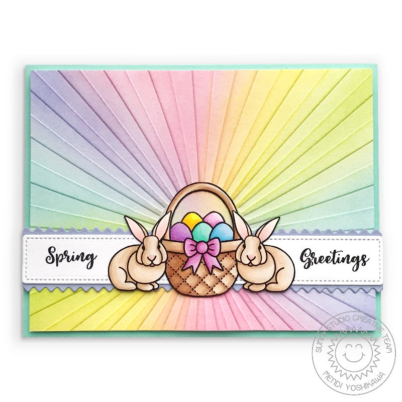 Sunny Studio Stamps Pastel Rainbow Easter Bunny Card (using Sunburst Sun Ray Embossing Folder)