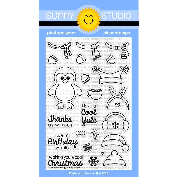 Sunny Studio Stamps Bundled Up 4x6 Penguin Photo-Polymer Clear Stamp Set