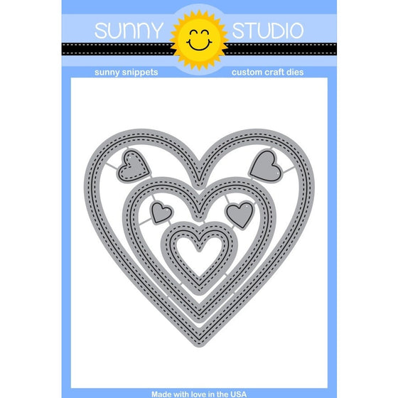 Sunny Studio Stamps 7-piece Stitched Heart Die Set