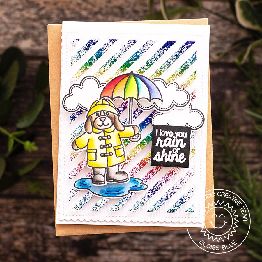 Sunny Studio Stamps I Love You Rain or Shine Rainbow Umbrella Striped Foil Card (using Frilly Frames Stripes Dies)
