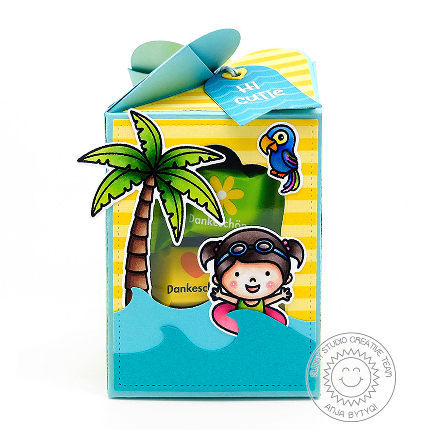 Sunny Studio Wrap Around Beach Themed Treat Box with Window (using Girl in Inner tube from Coastal Cuties Stamp set)