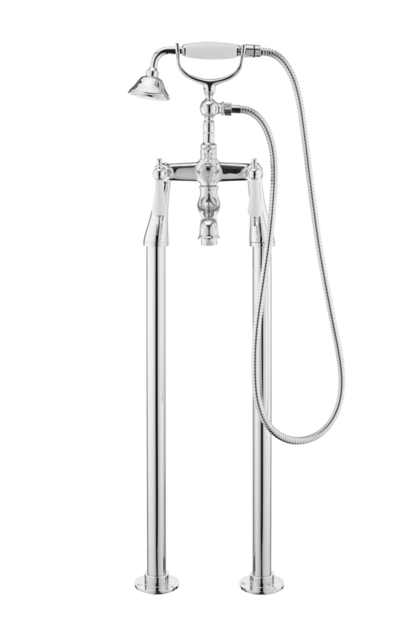 Traditional Bath Shower Mixer On Pipe Stands - Cross Handles