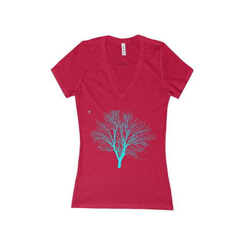 Cyan Tree - Women's Deep V-Neck Jersey Tee