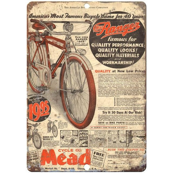 "1936 Mead bicycle vintage advertising 10"" x 7"" reproduction metal sign"