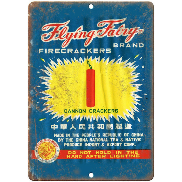 "Flying Fairy Brand Firecrackers Wrapper Art 10""X7"" Reproduction Metal Sign ZD32"