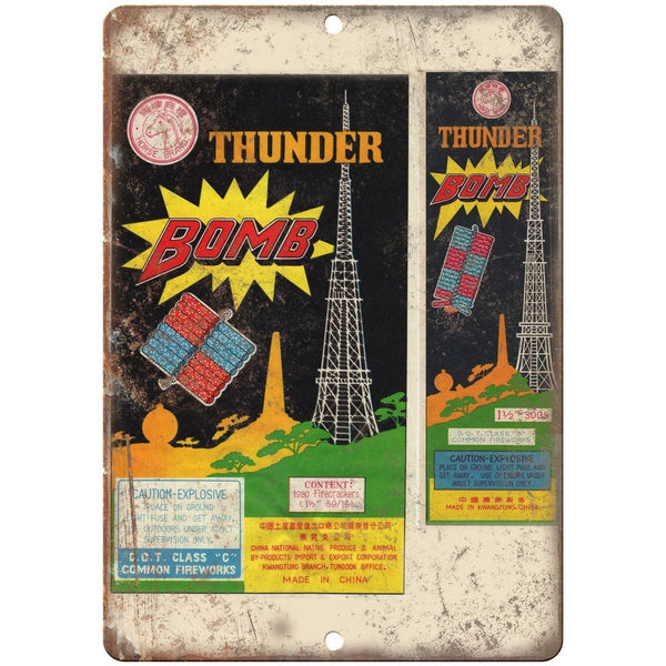 "Thunder Bomb Firecrackers Package Art 10"" X 7"" Reproduction Metal Sign ZD49"