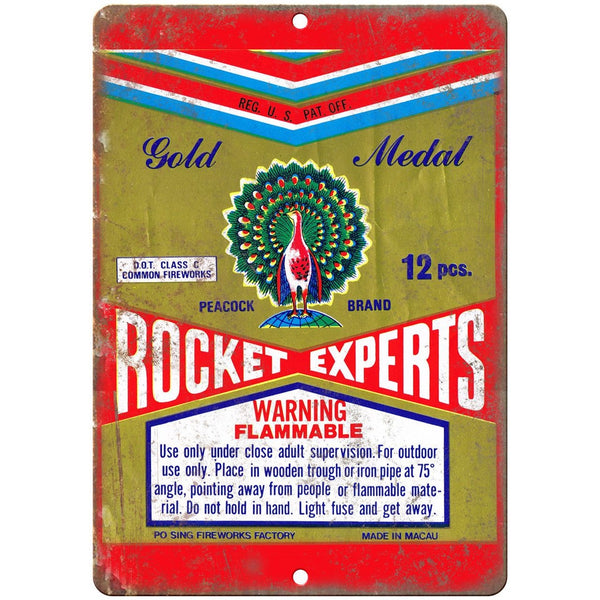 "Focket Experts Firework Package Art 10"" X 7"" Reproduction Metal Sign ZD81"
