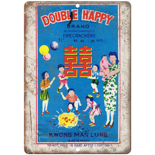 "Double Happy Firecracker Package Art 10"" X 7"" Reproduction Metal Sign ZD111"