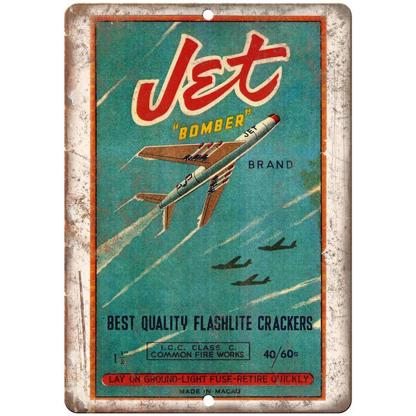 "Jet bomber Brand Firecrackers Package Art 10"" X 7"" Reproduction Metal Sign ZD63"