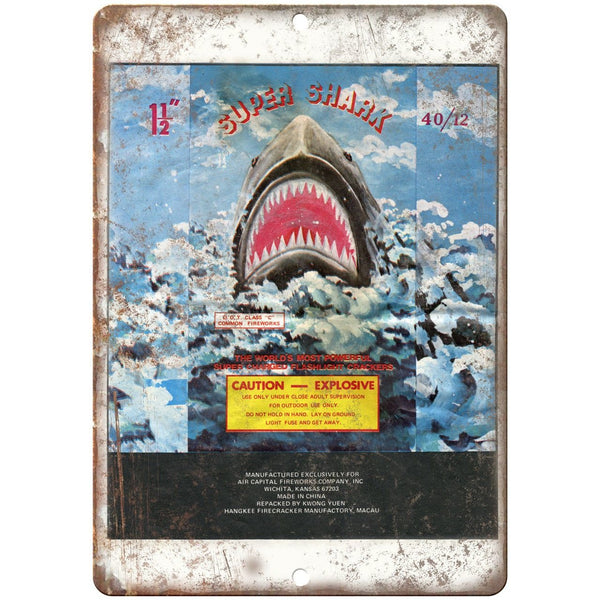 "Super Shark Firework Package Art 10"" X 7"" Reproduction Metal Sign ZD80"