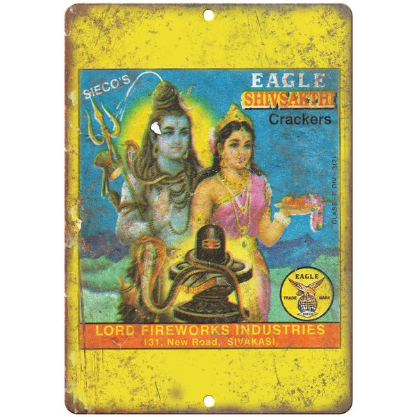 "Eagle Shivsakthi Fireworks Package Art 10"" X 7"" Reproduction Metal Sign ZD95"