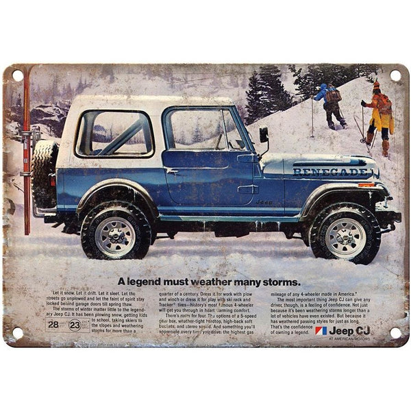 "RARE Jeep Renegade ad 10"" x 7"" Reproduction Metal Sign"