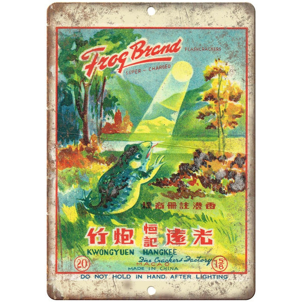 "Frog Brand Firework Package Art 10"" X 7"" Reproduction Metal Sign ZD77"