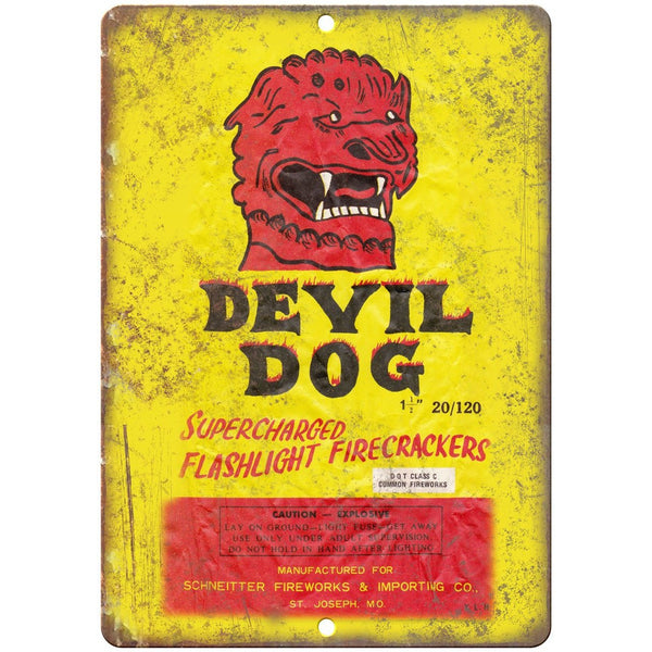 "Devil Dog Firecracker Package Art 10"" X 7"" Reproduction Metal Sign ZD37"