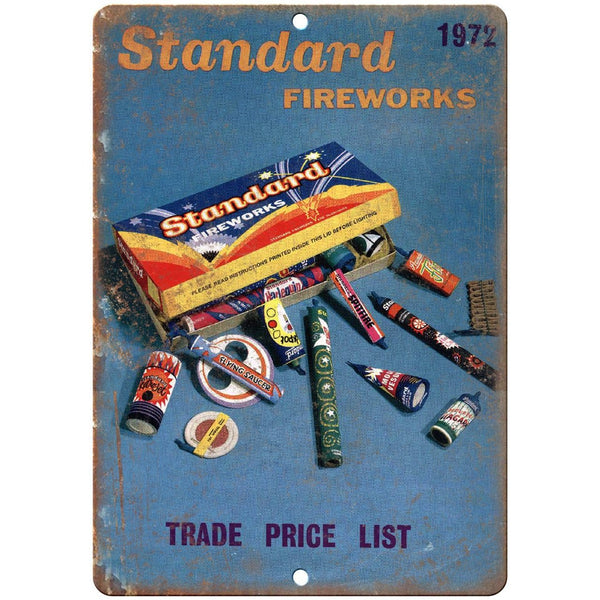 "Standard Fireworks Trade Price List 10"" X 7"" Reproduction Metal Sign ZD48"