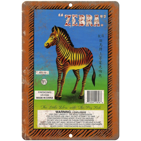 "Zebra Firecracker Package Art 10"" X 7"" Reproduction Metal Sign ZD57"
