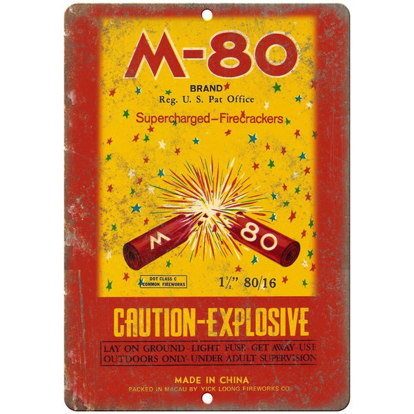 "M-80 Brand Firecrackers Package Art 10"" X 7"" Reproduction Metal Sign ZD36"