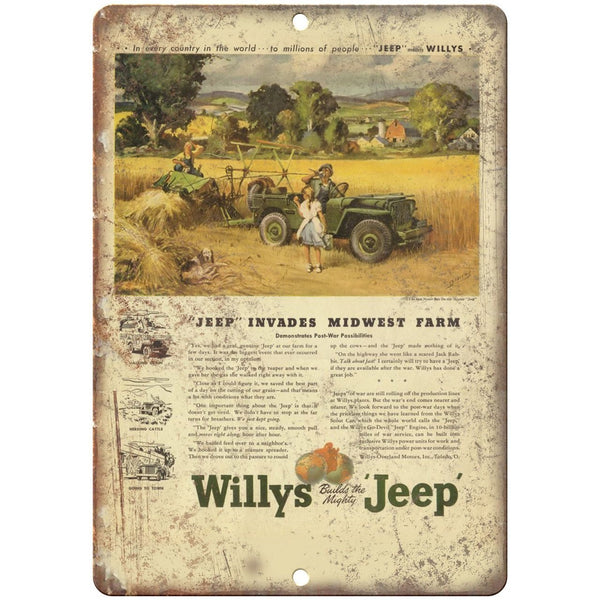 "Jeep Willys Overland Universal 4x4 Farm Jeep - 10"" x 7"" Reproduction Metal Sign"