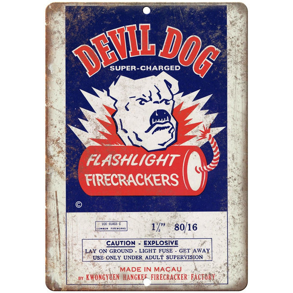 "Devil Dog Firecracker Package Art 10"" X 7"" Reproduction Metal Sign ZD105"