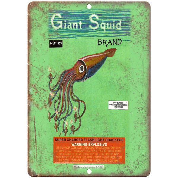 "Giant Squid Brand Firecracker Package Art 10"" X 7"" Reproduction Metal Sign ZD71"