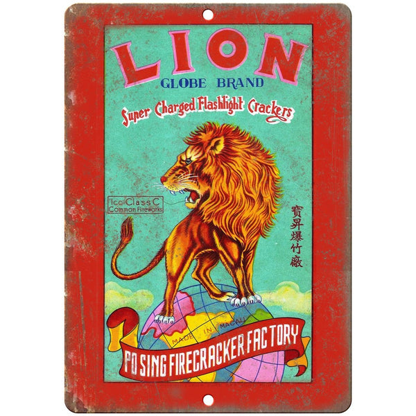 "Lion Globe Brand Firecracker Factory Art 10"" X 7"" Reproduction Metal Sign ZD50"
