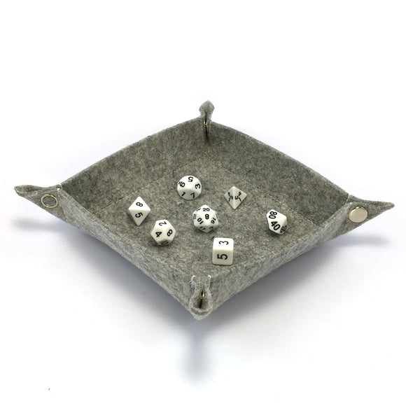 Felt Collapsible Dice Tray - Light Gray