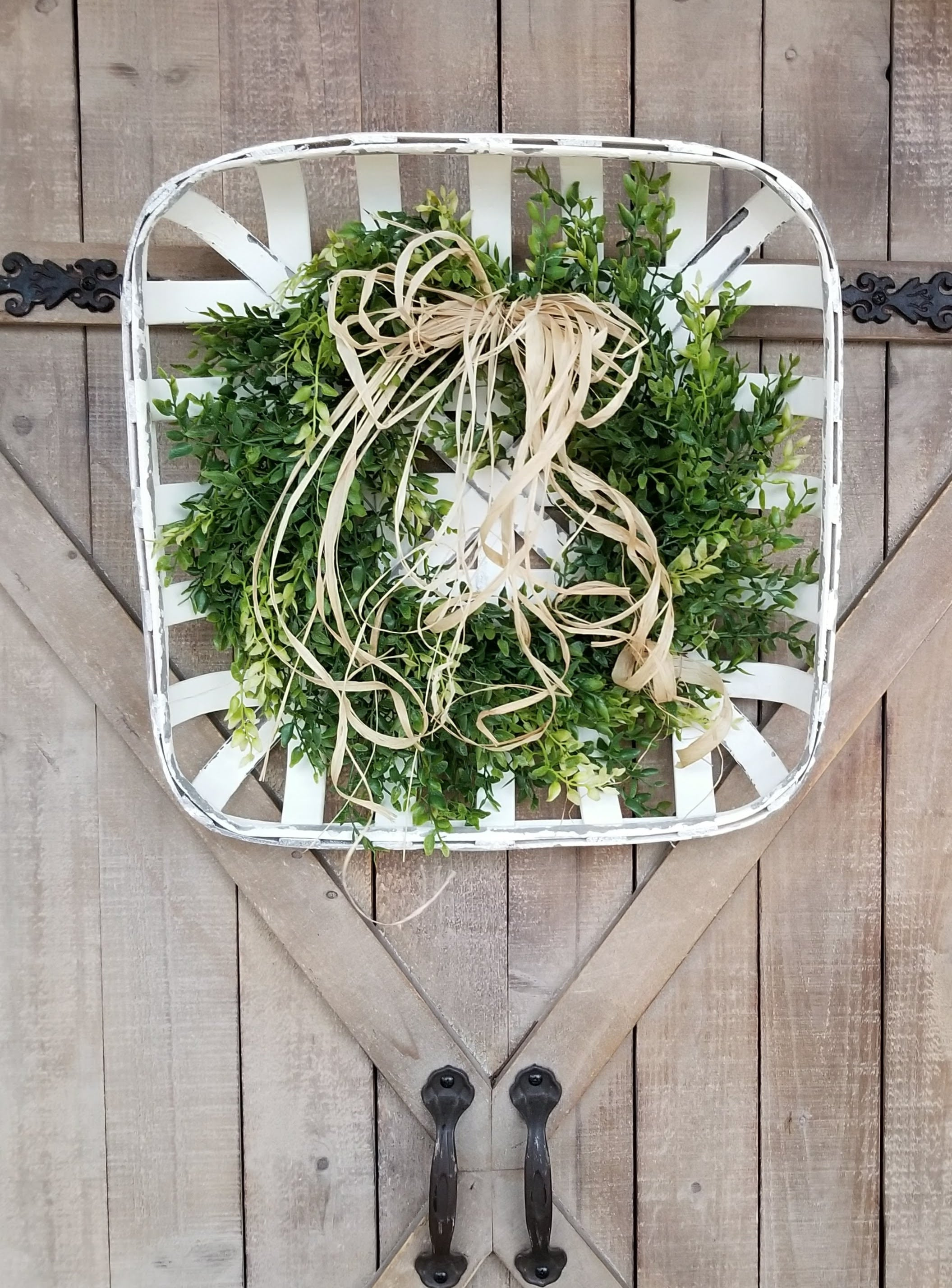 Farmhouse Style White Tobacco Basket with Boxwood Wreath Farmhouse Style - Farmhouse Florals