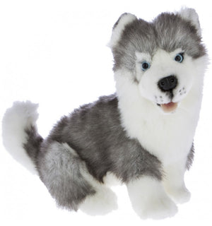 Bocchetta Button Siberian Husky Sitting Plush Toy