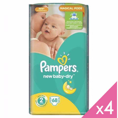 PAMPERS - Lot de 4*68 couches NEW BABY DRY T2 (0,2€/couche)