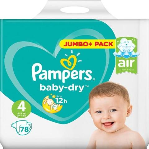 PROMO PAMPERS - BABYDRY T4, 78 couches (0,22€/couche)