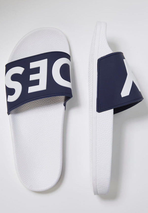 Slydes - Deflect Men's White/Navy Sliders - The Worlds Best Sliders & Sandals