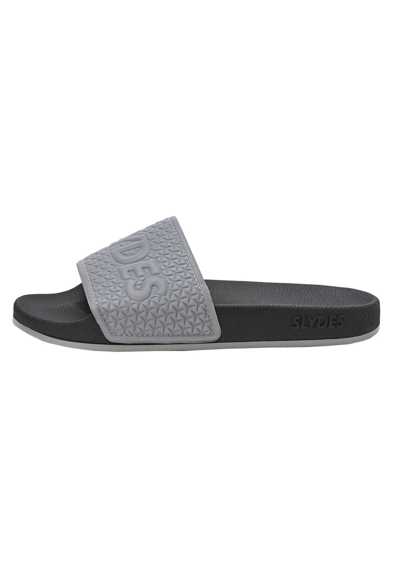 Slydes - Storm Men's Black/Reflective Sliders - The Worlds Best Sliders & Sandals